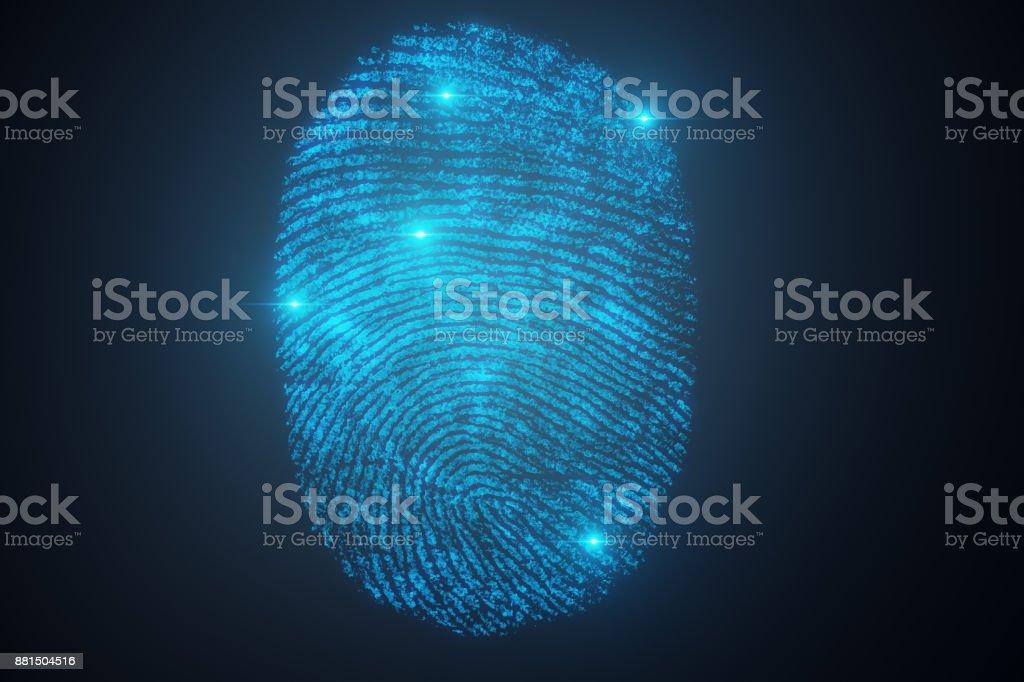 3D illustration Fingerprint scan provides security access with biometrics identification. Concept Fingerprint protection. stock photo