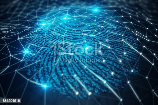 istock 3D illustration Fingerprint scan provides security access with biometrics identification. Concept Fingerprint protection. 881504518