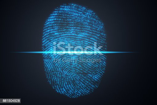 istock 3D illustration Fingerprint scan provides security access with biometrics identification. Concept Fingerprint protection. 881504528
