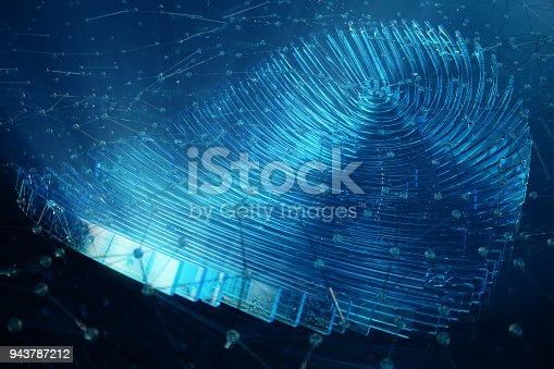 istock 3D illustration Fingerprint scan provides security access with biometrics identification. Concept Fingerprint protection. 943787212