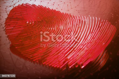 istock 3D illustration Fingerprint scan provides security access with biometrics identification. Personal data hacking concept. Hacking, insecurity 943787220