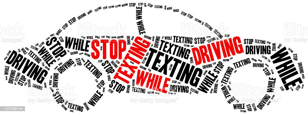 Illustration for a stop texting while driving campaign stock photo