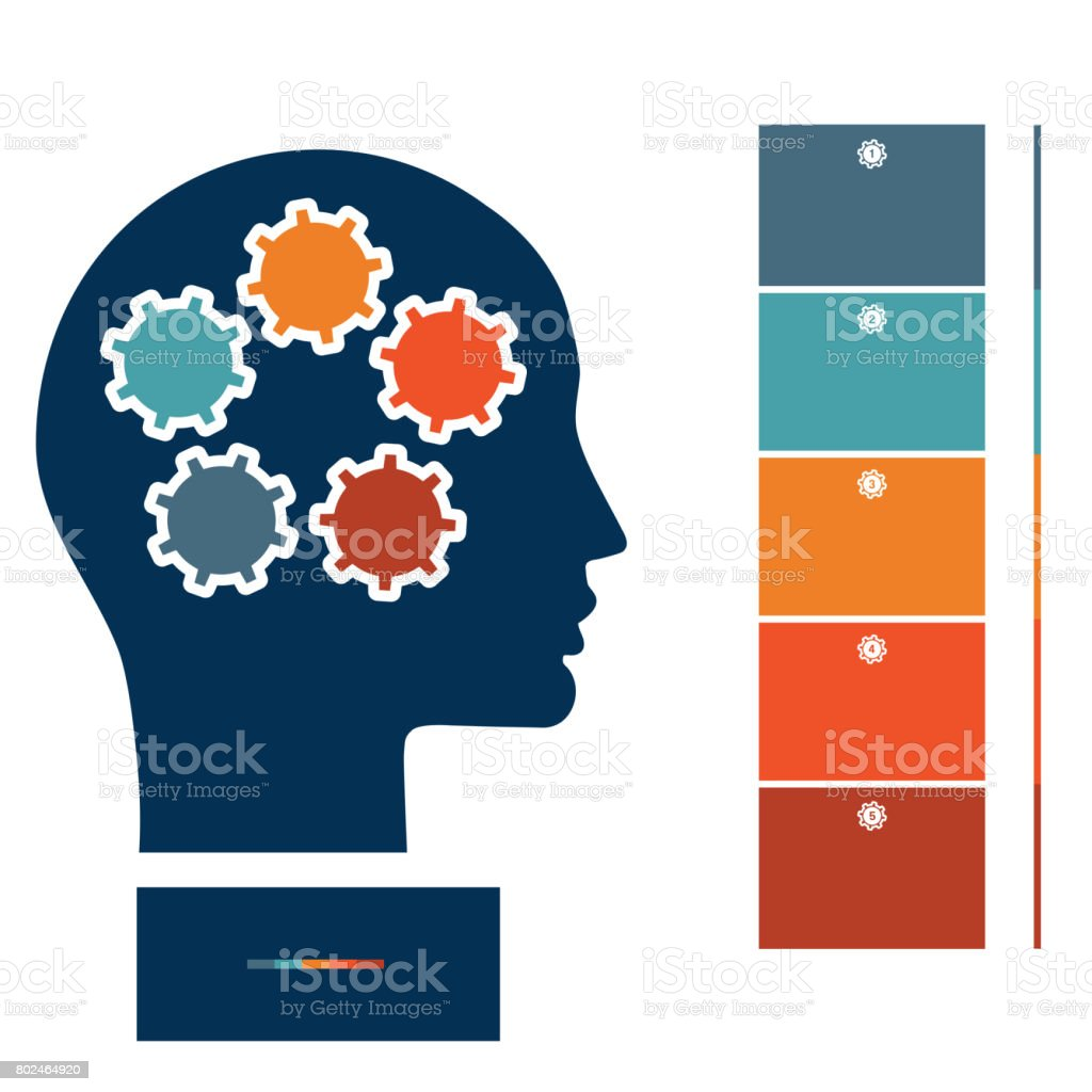 Illustration for infographic, head and gearwheels, thinking human target purpose startup concept stock photo