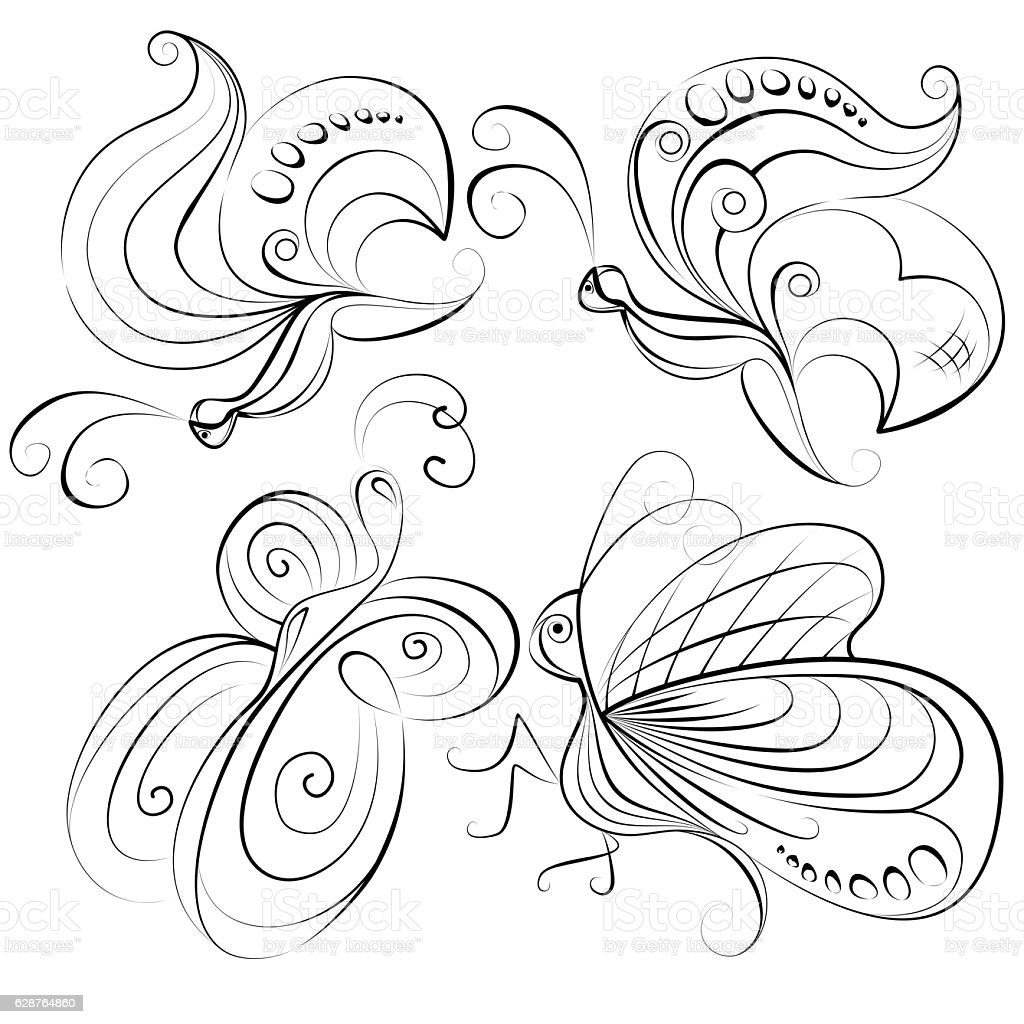 Illustration - four different butterflies without a fill color – Foto