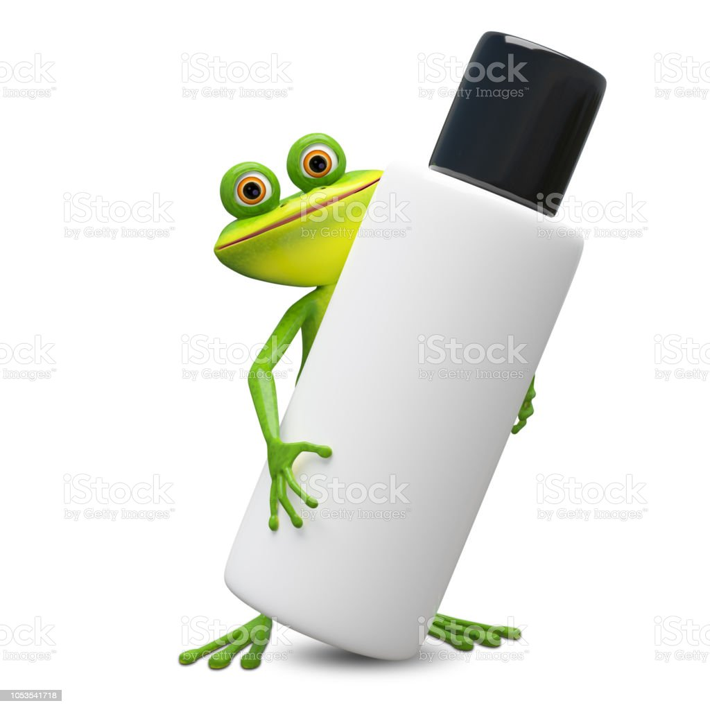 3D Illustration Frog with Big Flacon stock photo
