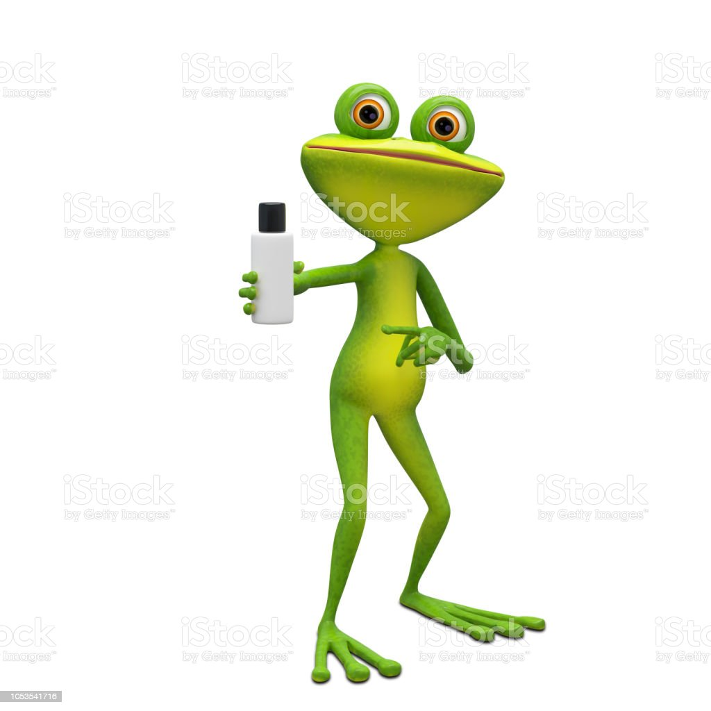 3D Illustration Frog with Flacon stock photo