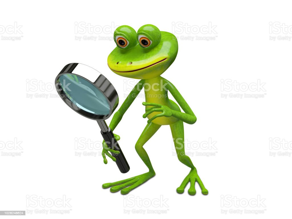 3D Illustration Frog with Magnifier stock photo