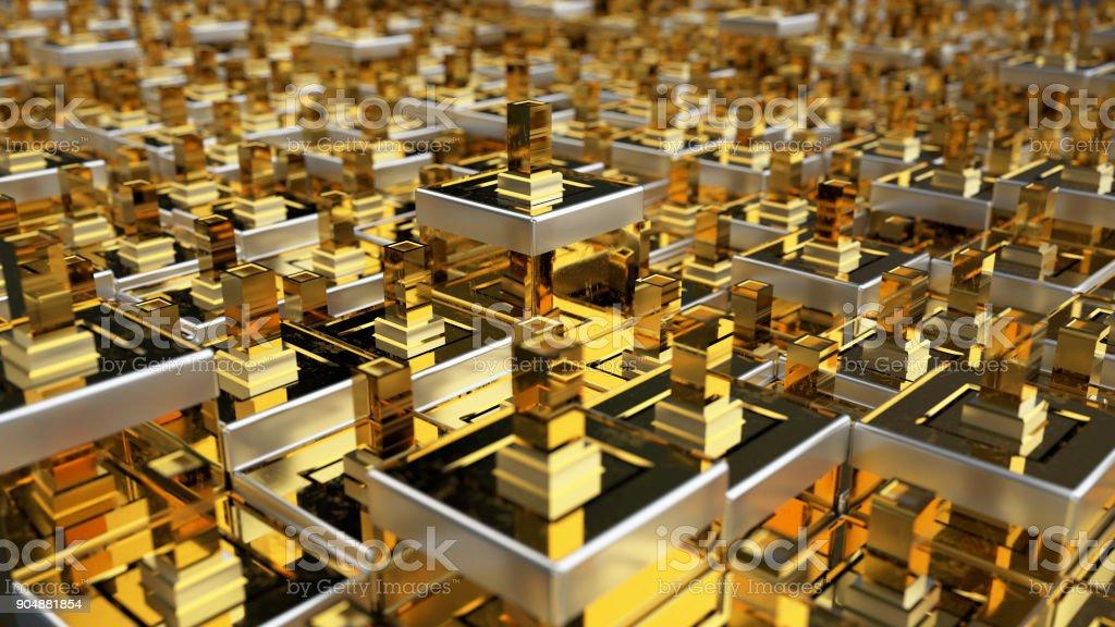 3D illustration Gold boxes stock photo