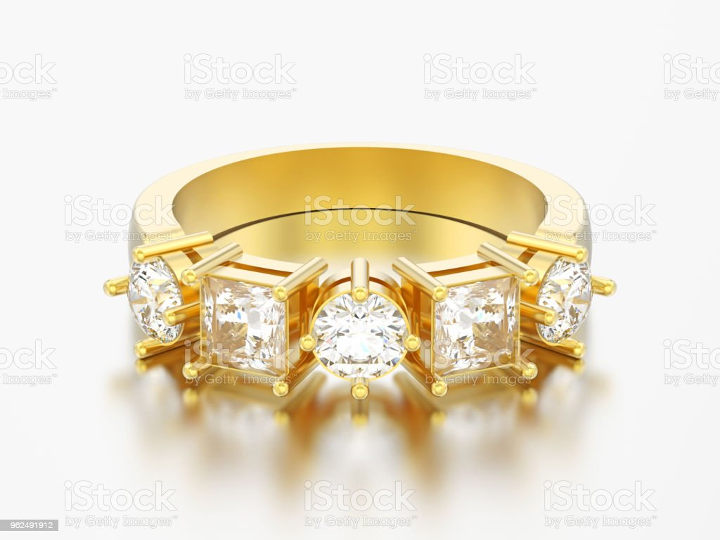 3D illustration gold decorative ring with different round and square diamont - Royalty-free Backgrounds Stock Photo