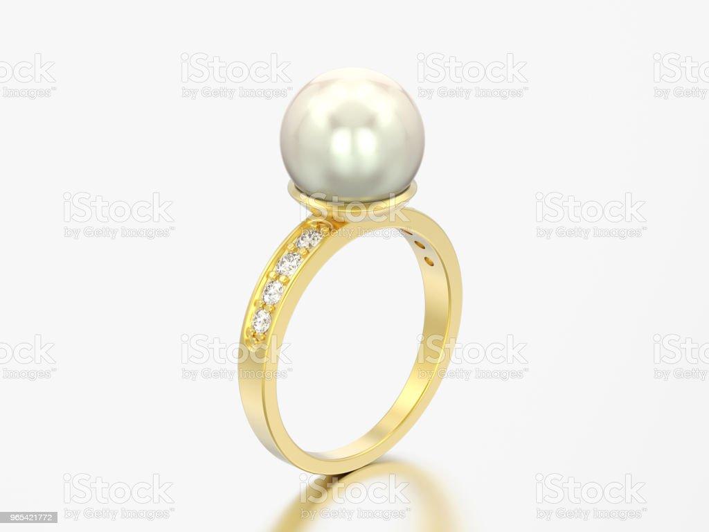 3D-Illustration gold DiamantVerlobungsring Hochzeit mit Perle - Lizenzfrei Accessoires Stock-Foto