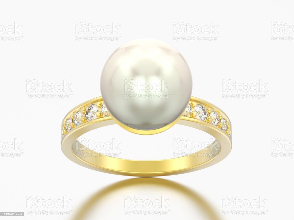 3D illustration or diamant engagement bague de mariage avec perle - Photo de Accessoire libre de droits