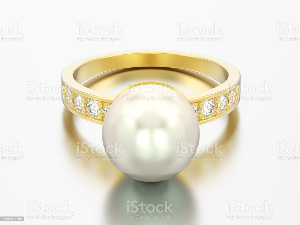 3D illustration gold diamond engagement wedding ring with pearl royalty-free stock photo
