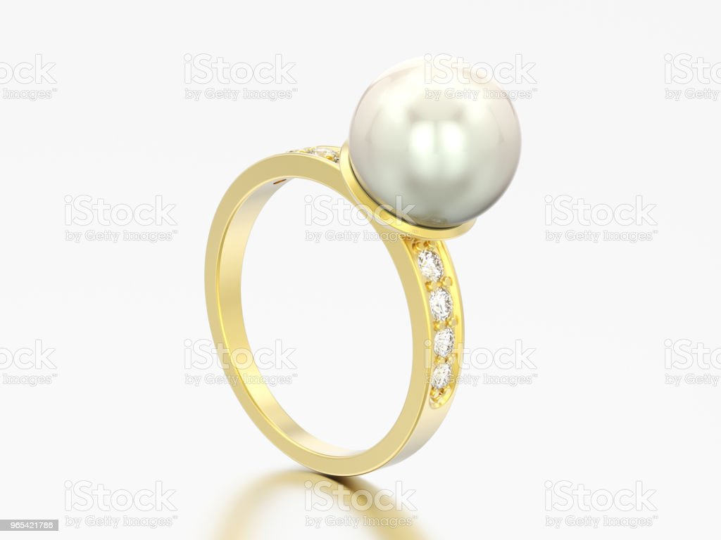 3D illustration gold diamond engagement wedding ring with pearl zbiór zdjęć royalty-free