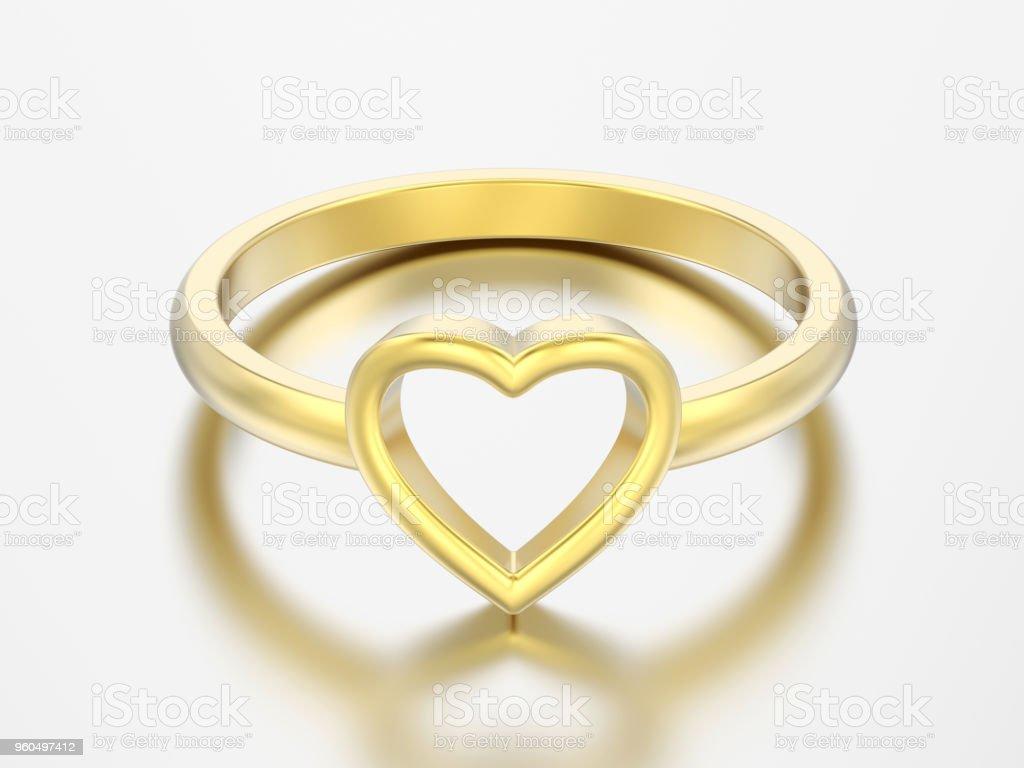 3dillustration Gold Hochzeit Herz Verlobungsring Stockfoto