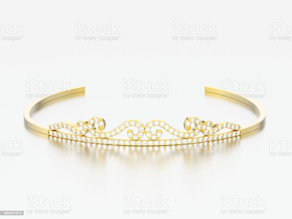 3D illustration gold simple diamond tiara diadema royalty-free stock photo