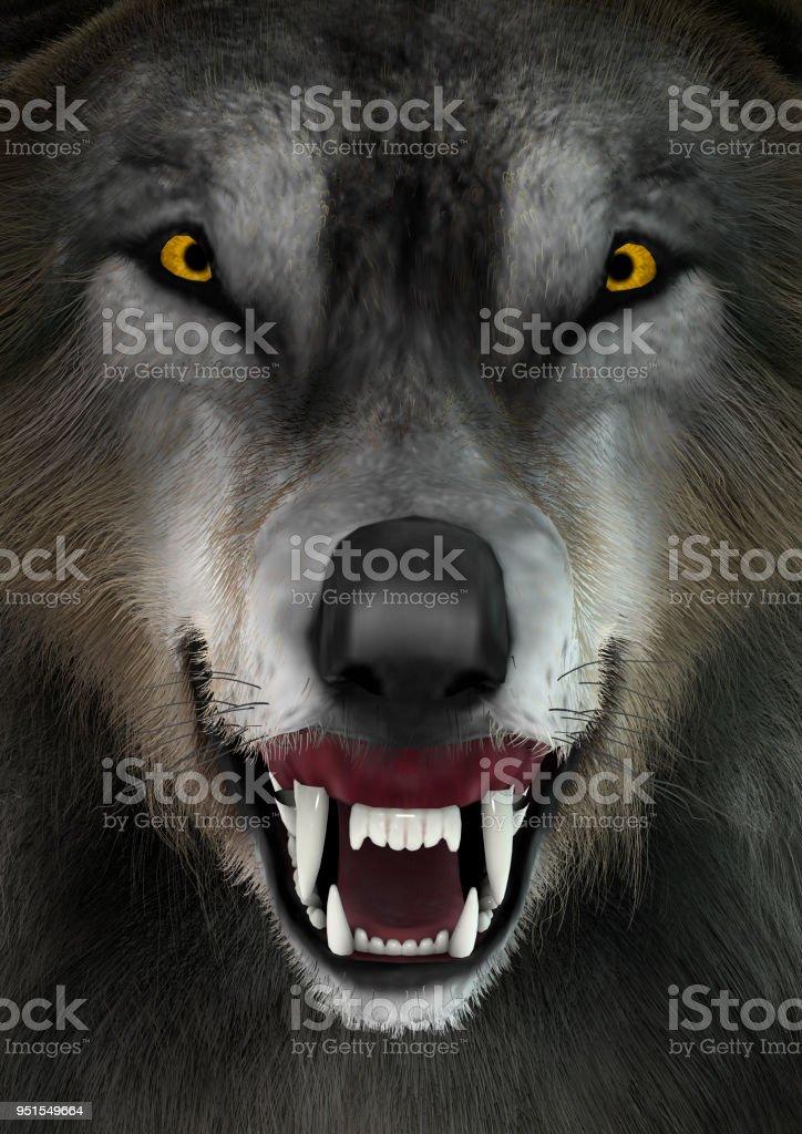 3D illustration gray wolf stock photo