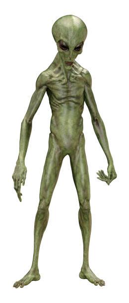 3d illustratie groene alien op wit - buitenaards wezen stockfoto's en -beelden