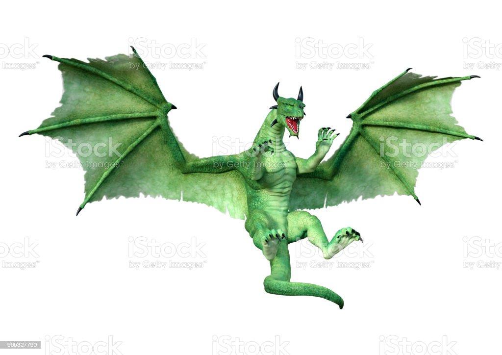 3D 插圖綠色童話龍白色 - 免版稅仙女圖庫照片