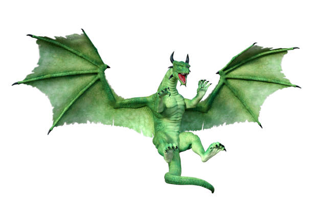 3D illustration green fairy tale dragon on white 3D rendering of a green fairy tale dragon isolated on white background dragon stock pictures, royalty-free photos & images