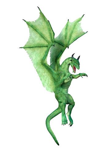 Photo libre de droit de Dragon Vert Conte De Fée Illustration 3d Sur Blanc banque d'images et plus d'images libres de droit de {top keyword}