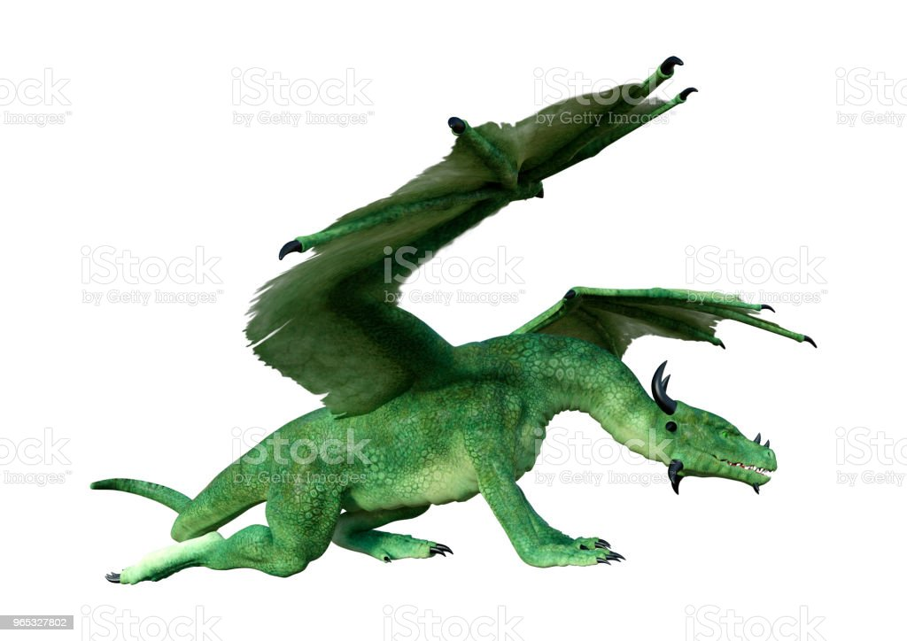 3D illustration green fairy tale dragon on white royalty-free stock photo