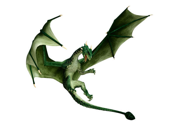 3D illustration green fantasy dragon on white 3D rendering of a green fantasy dragon isolated on white background dragon stock pictures, royalty-free photos & images