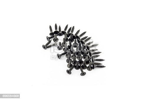 istock Illustration hedgehog drawing with black screws on white background 696584668