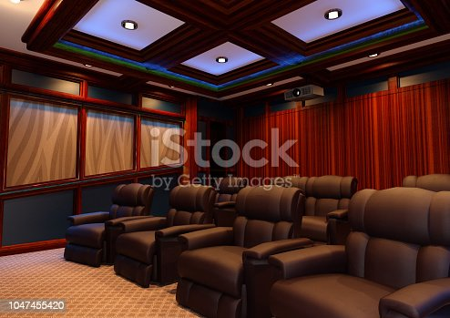 3D rendering of a home theater interior
