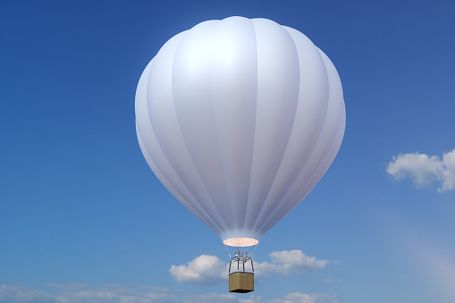 3D illustration hot air balloon on sky background. White, red, blue, green and yellow air ballon flyes on sky