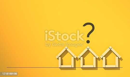 3D illustration house ideas concept with wooden block in house symbol shape with question mark symbol on yellow paper background