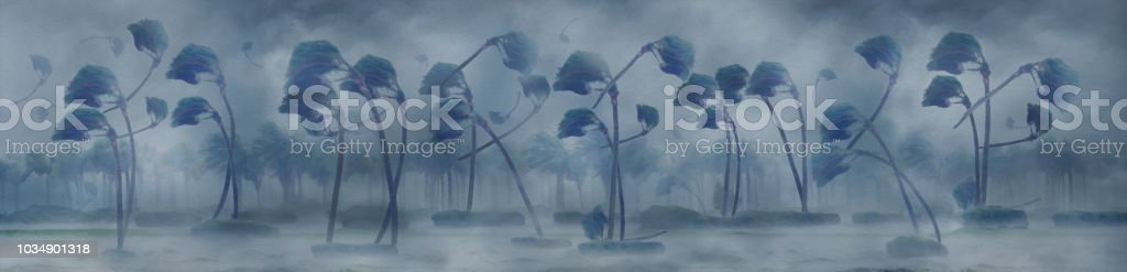Illustration of windblown palm trees in a hurricane creating the word...