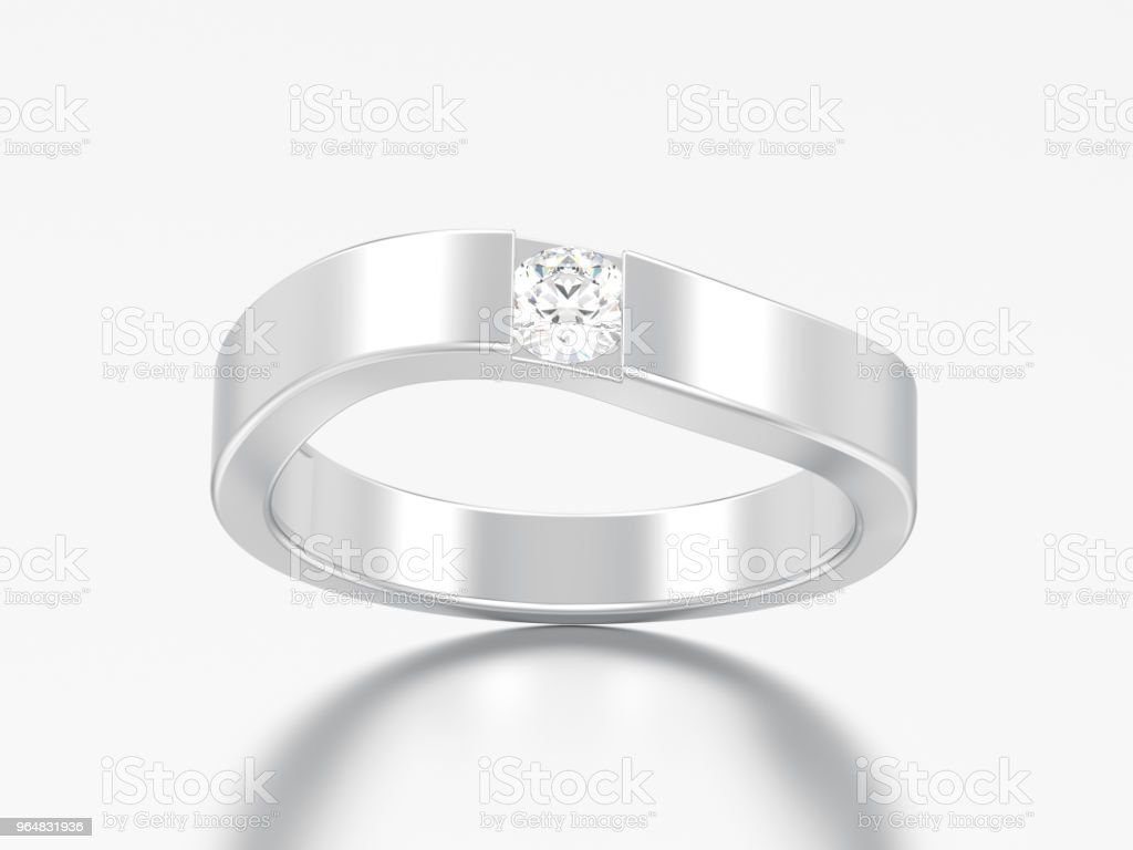 3D illustration illusion modern  bent silver ring with diamond royalty-free stock photo