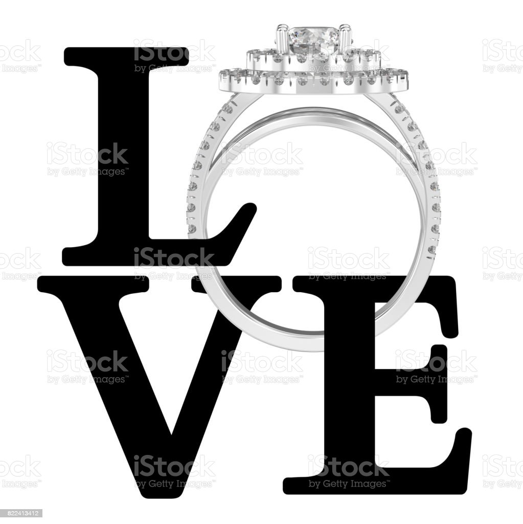 3D illustration isolated black text word love with wedding silwer diamond  ring stock photo