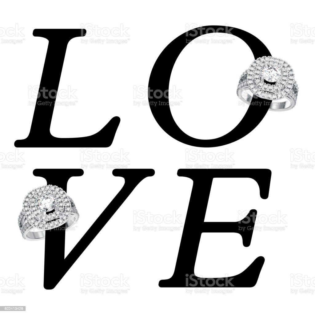 3D illustration isolated black text word love with wedding silwer diamond  rings stock photo