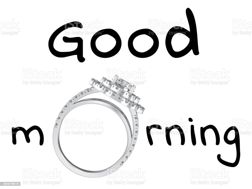 3D illustration isolated black text words good morning with wedding silwer diamond ring stock photo