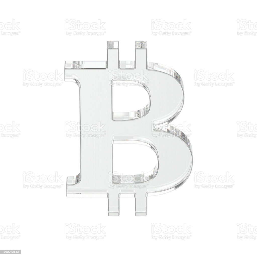 3D illustration isolated glass transparent bitcoin stock photo