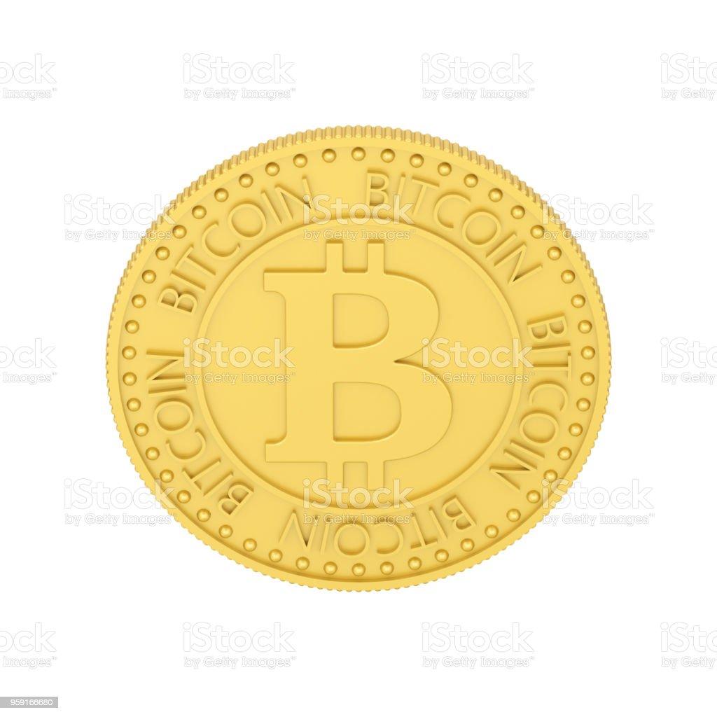 3D illustration isolated gold bitcoin stock photo