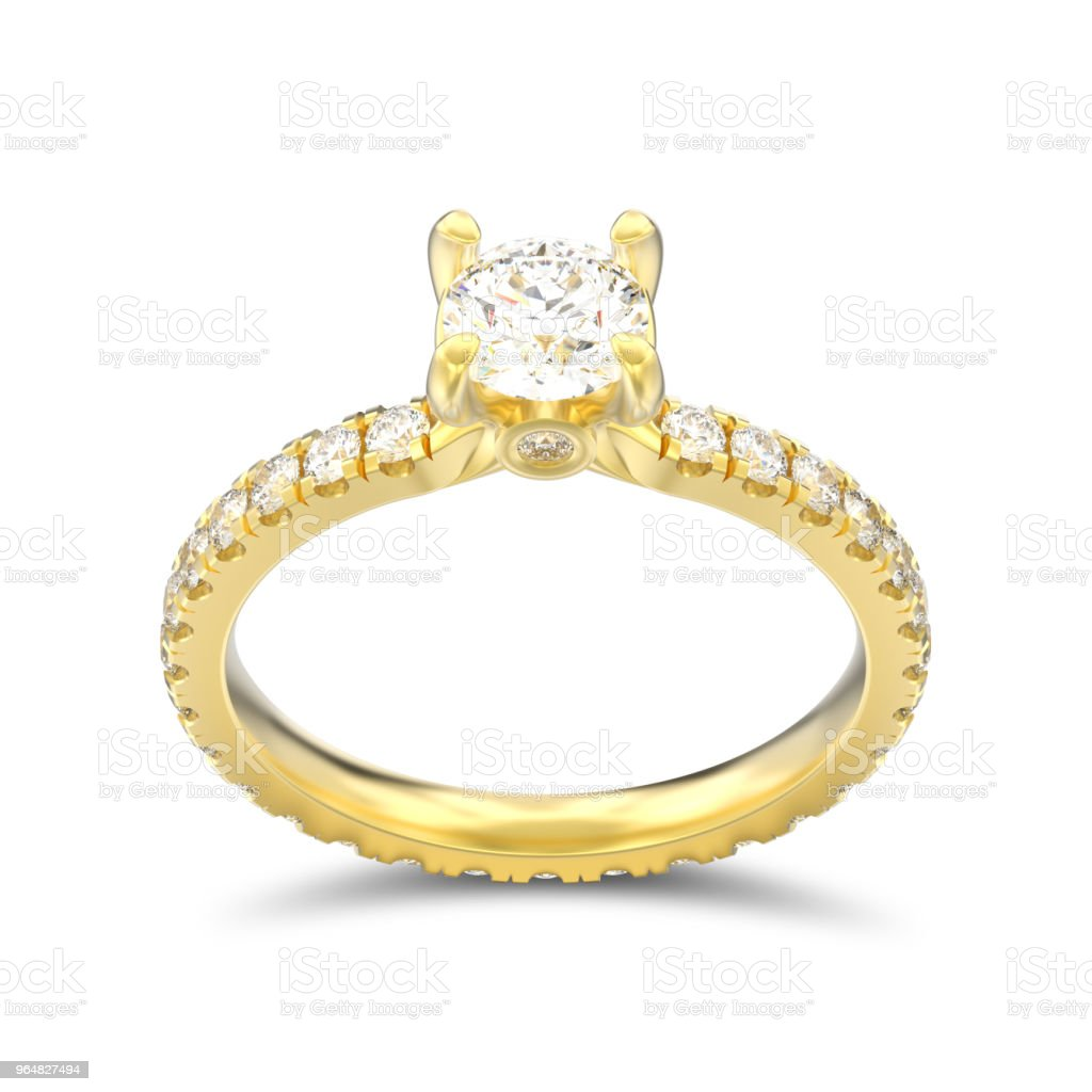 3D illustration isolated gold diamond engagement wedding ring with shadow royalty-free stock photo