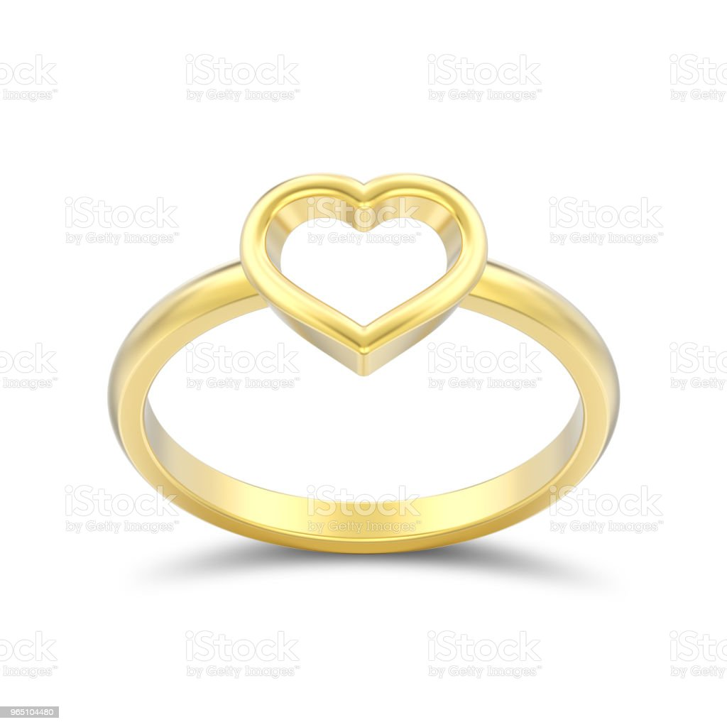 3D illustration isolated gold engagement wedding heart ring with shadow zbiór zdjęć royalty-free