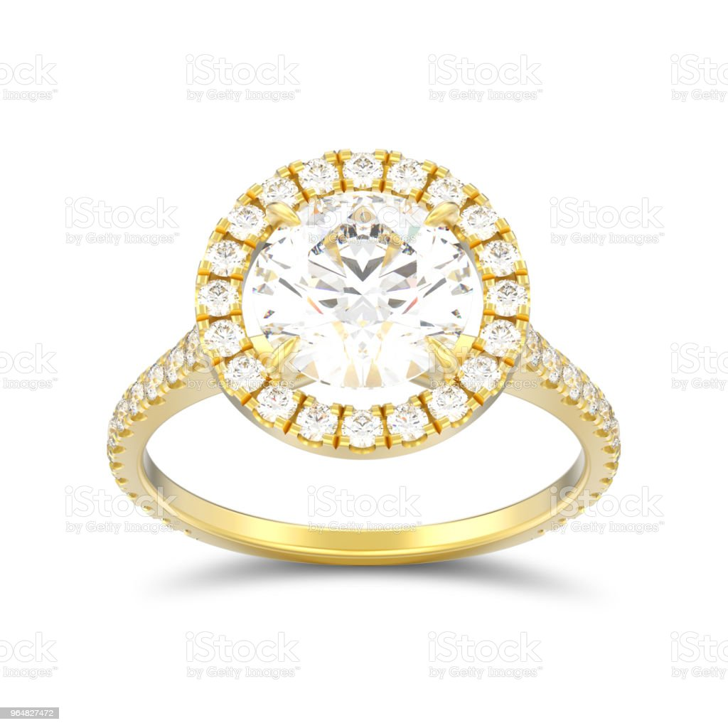 3D illustration isolated gold engagement wedding round diamond ring with shadow royalty-free stock photo