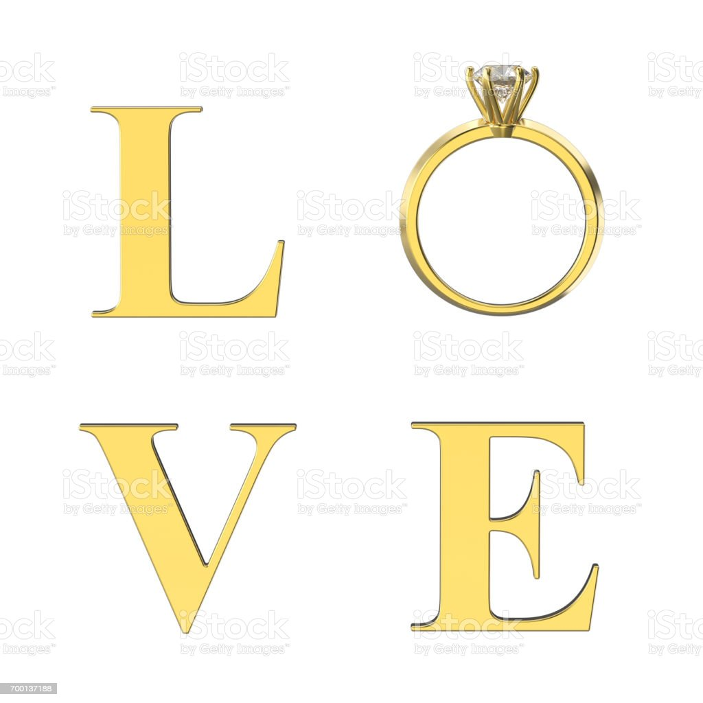 3D illustration isolated gold text word love with diamond ring on a white background stock photo