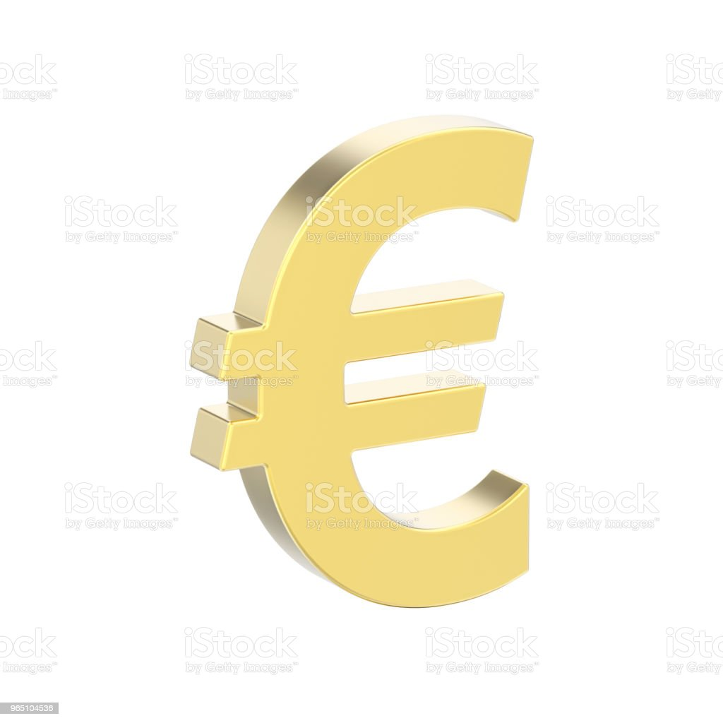 3D illustration isolated gold uero money royalty-free stock photo