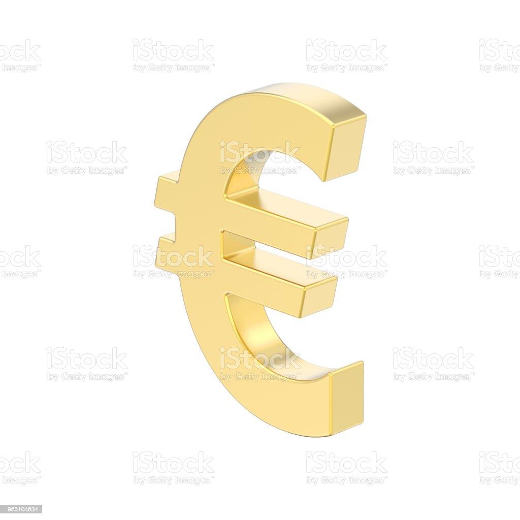 3D illustration isolated gold uero money royalty-free stock photo