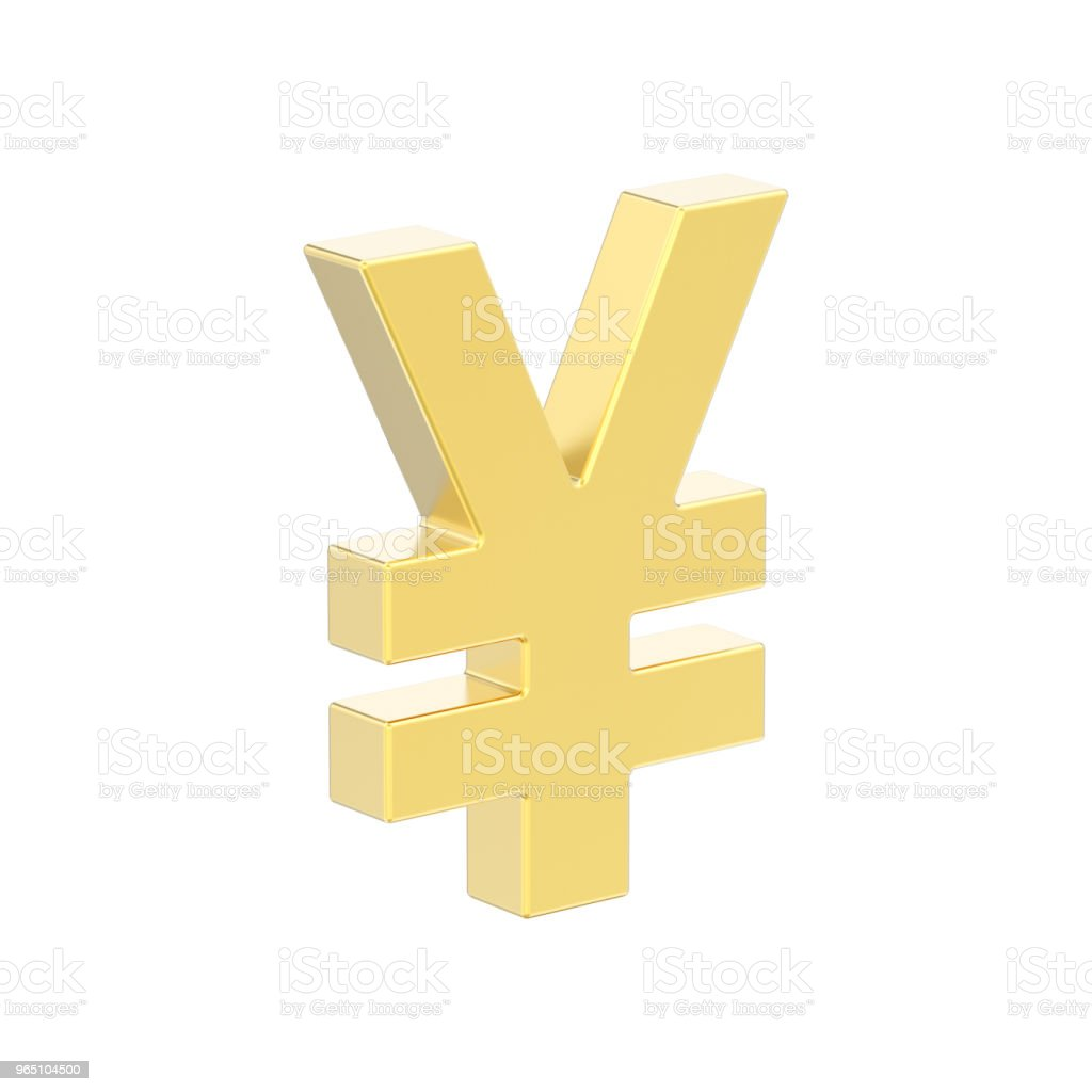 3D illustration isolated golden yen money zbiór zdjęć royalty-free