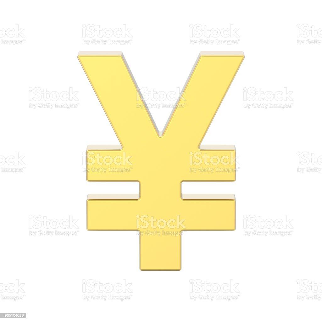 3D illustration isolated golden yen money royalty-free stock photo
