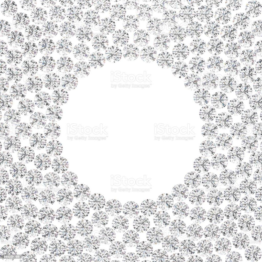 3D illustration isolated group of diamonds round frame stock photo