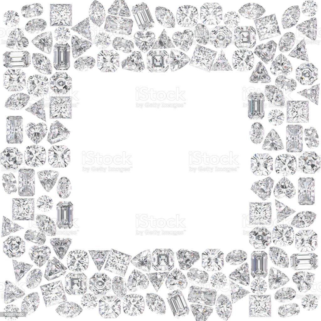 3D illustration isolated group of diamonds square frame stock photo