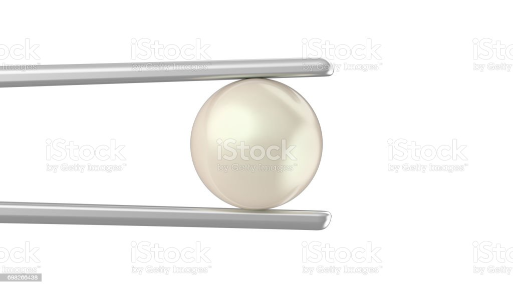 3D illustration isolated pearl in tweezers on a white background stock photo