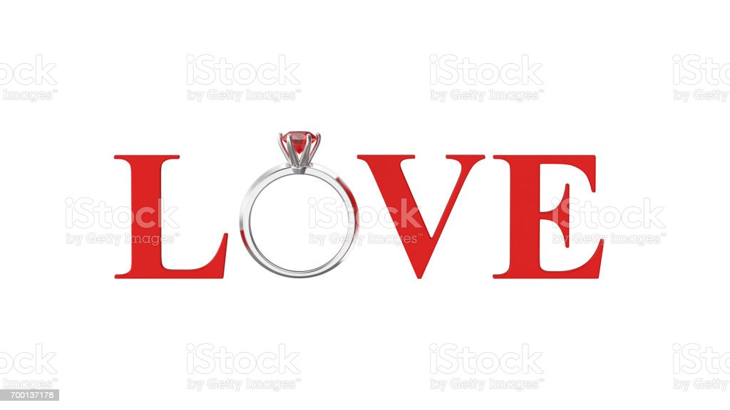 3D illustration isolated red text word love with ruby silwer ring on a white background stock photo