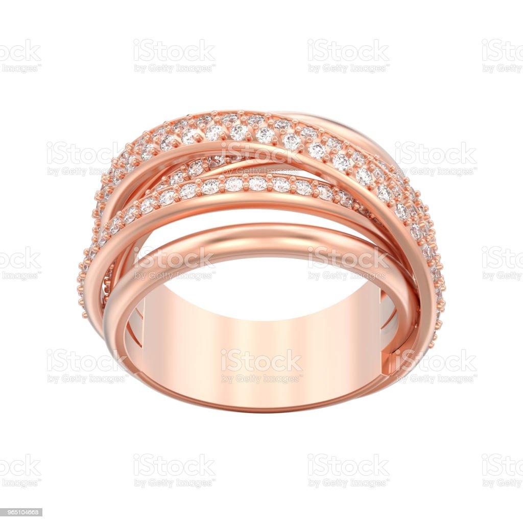 3D illustration isolated rose gold decorative diamond criss cross ring zbiór zdjęć royalty-free